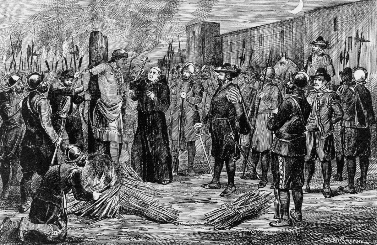 رسم تخيل لإمبراطور الإنكا أثناء اعتناقه للمسيحية قبيل اعدامه بلحظات