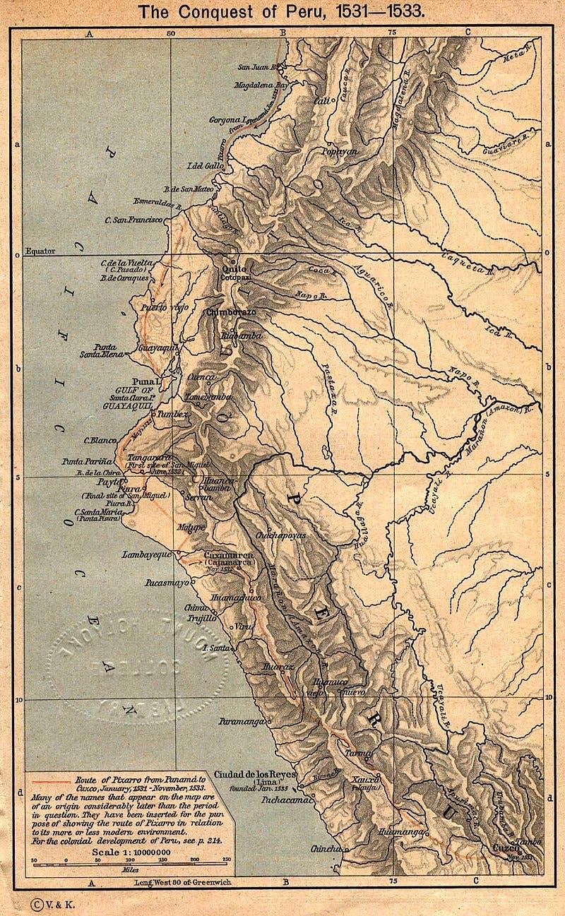 خريطة تجسد الطريق التي سلكها بيزارو لبلوغ البيرو