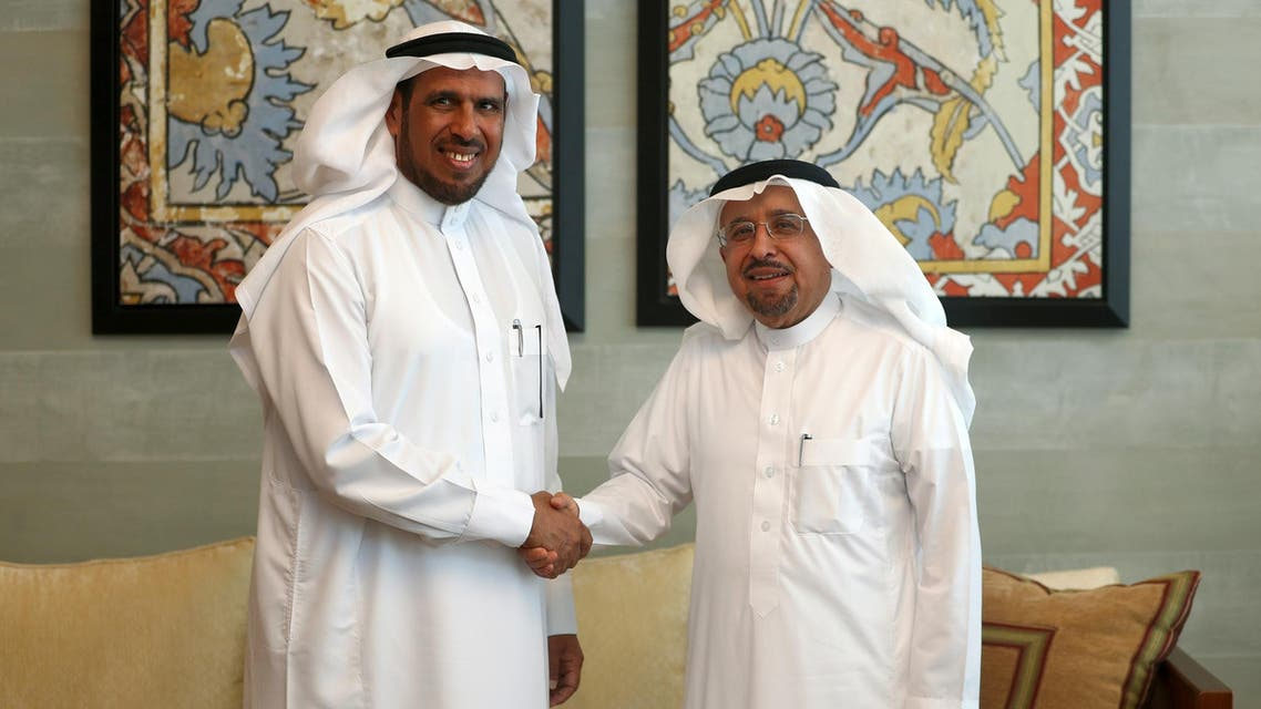 Saleh M. Bahamdan (R), CEO of Sahara Petrochemicals, with Abdullah Al-Saadoon, CEO of Sipchem, in Khobar on May 12, 2019. (Reuters)