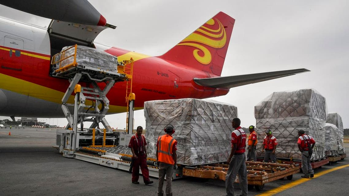 A previous shipment of 65 tons of aid arrived from China on March 29. (File photo: AFP)