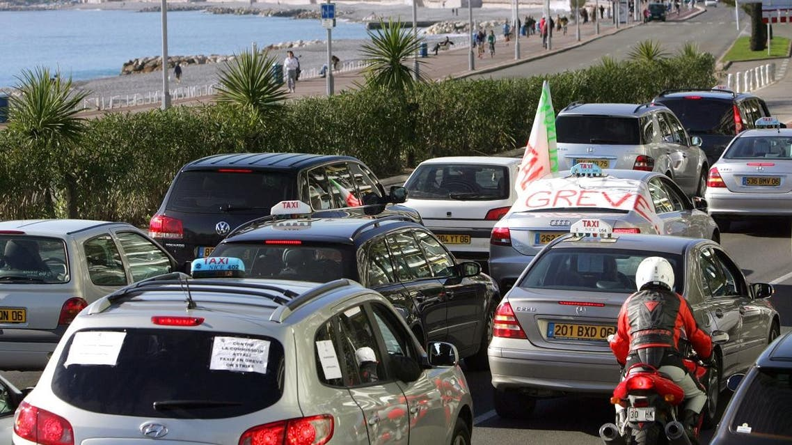 Disgruntled taxi drivers disrupted traffic on the streets of Nice, southeastern France. (File photo: AFP)