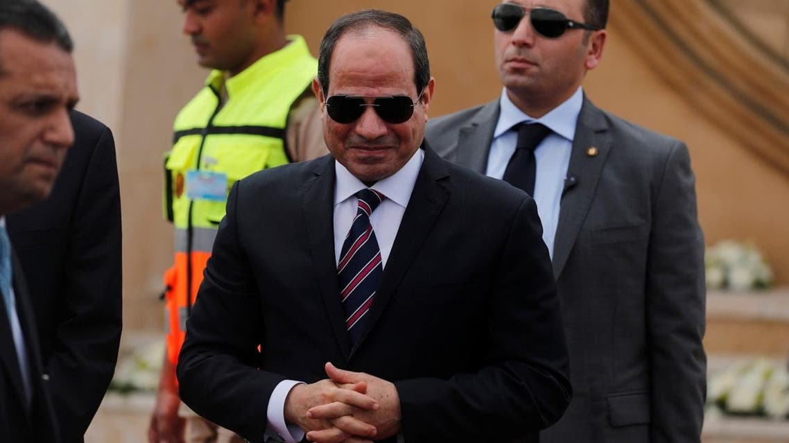 Egyptian President Abdel Fattah al-Sisi attends the opening ceremony of floating bridges and tunnel projects executed under the Suez Canal in Ismailia, Egypt, on May 5, 2019. (Reuters)