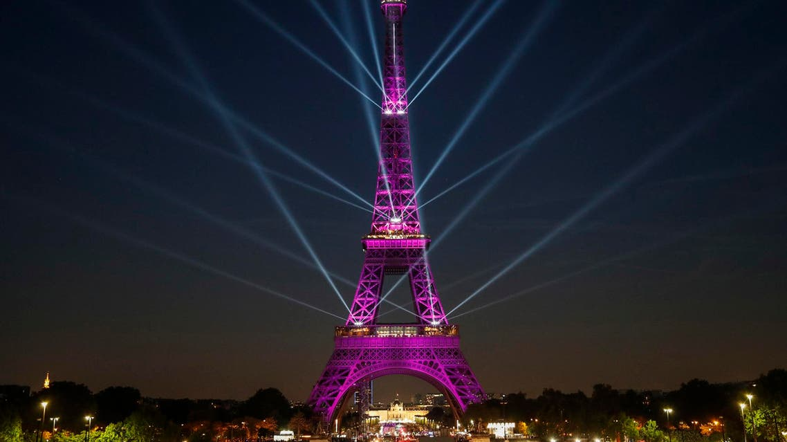 The Eiffel Tower during a light show celebrating the 130th anniversary of its construction on May 15, 2019. (AFP)