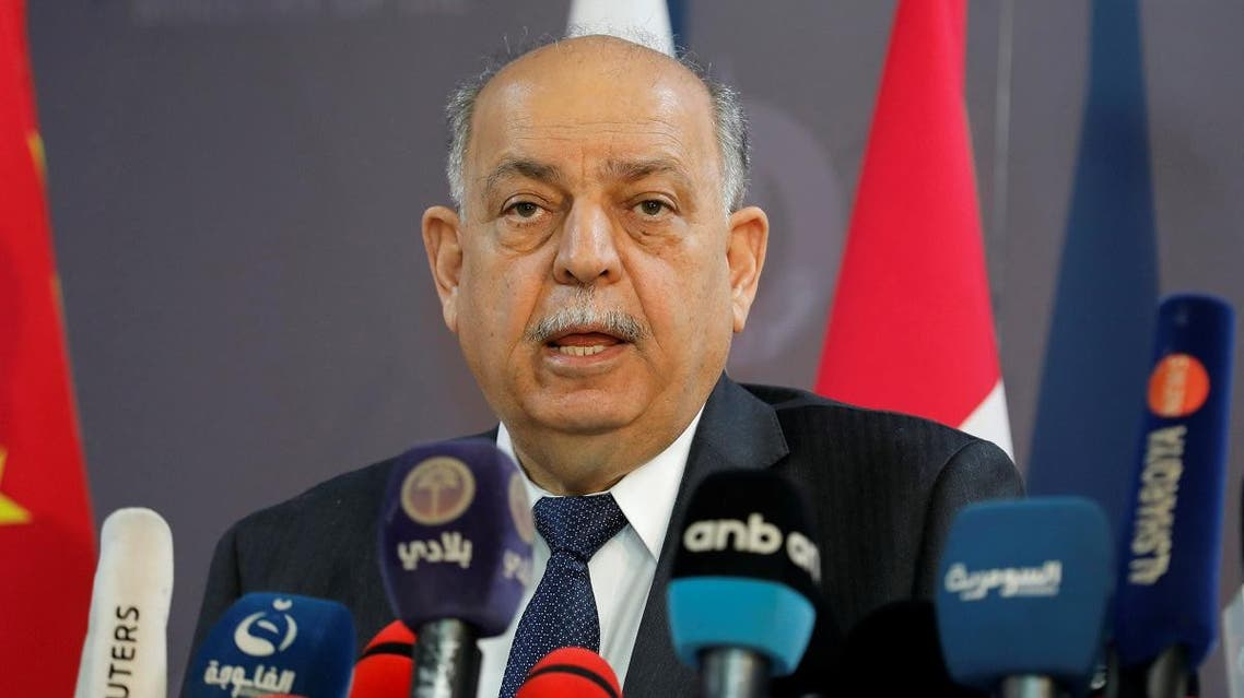 Iraqi Oil Minister Thamer Ghadhban speaks to the media at the ministry's headquarters in Baghdad, Iraq May 8, 2019. (Reuters)
