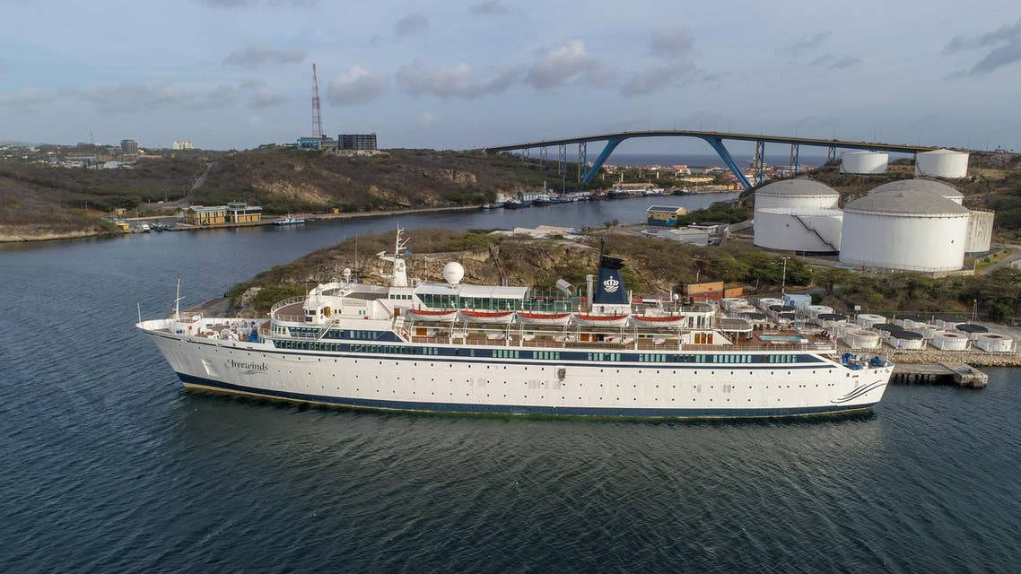 Aerial view of the Freewinds – a Scientology cruise ship – anchored in Willemstad, Curacao, on May 4, 2019. (AFP)
