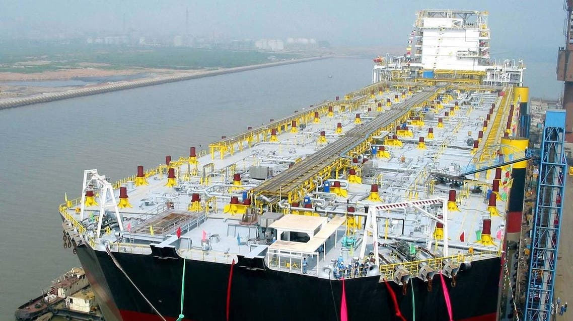 A newly completed 230,000-ton oil processing and storage ship is shown in Dalian, a coastal city in northeast China's Liaoning Province. (AP)