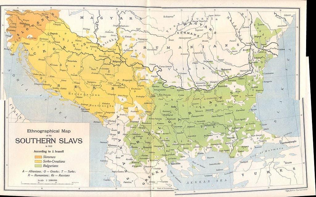 خريطة الشعوب السلافية الجنوبية