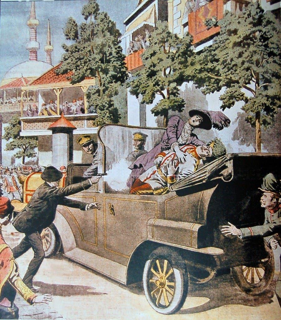 رسم تخيلي لحادثة اغتيال ولي عهد النمسا