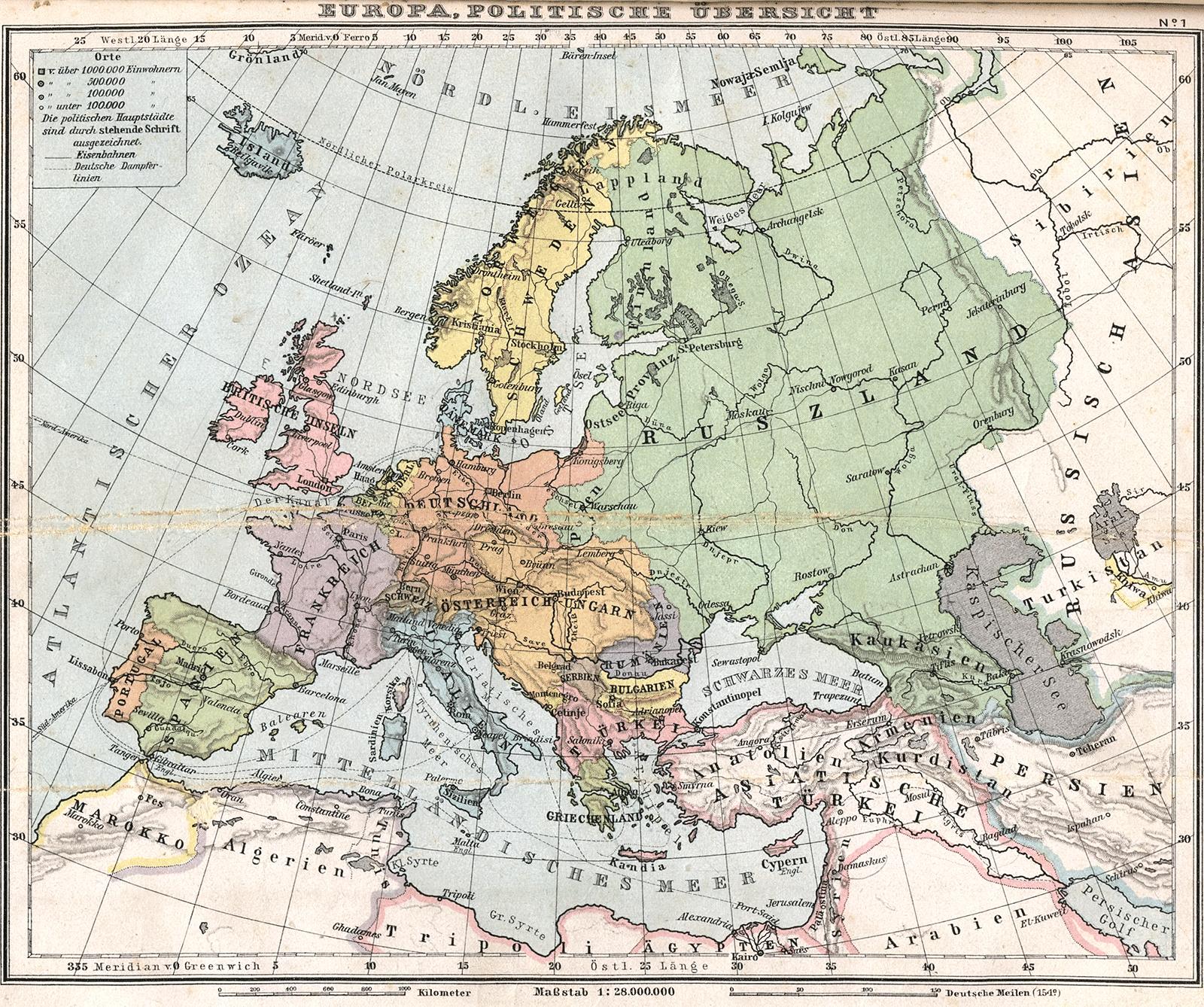 خريطة أوروبا سنة 1905