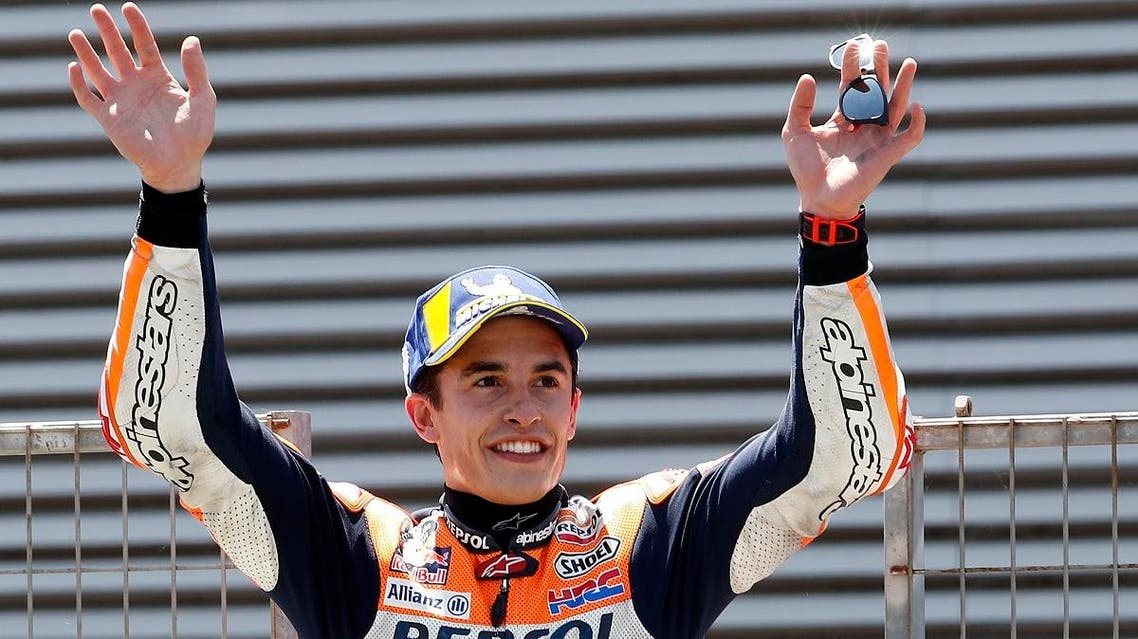 MotoGP rider Marc Marquez of Spain waves to the fans after winning the Spanish Motorcycle Grand Prix at on May 5, 2019. (AP)