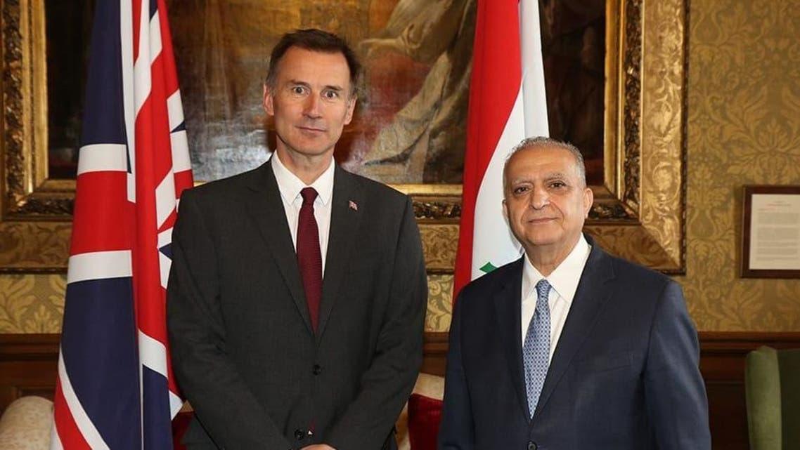 وزير الخارجية العراقي مع نظيره البريطاني