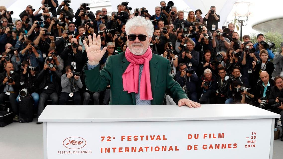 "Director Pedro Almodovar poses during then photo call for the film ""Pain and Glory"" (Dolor y Gloria) in competition at the 72nd Cannes Film Festival, France, on May 18, 2019. (Reuters)"