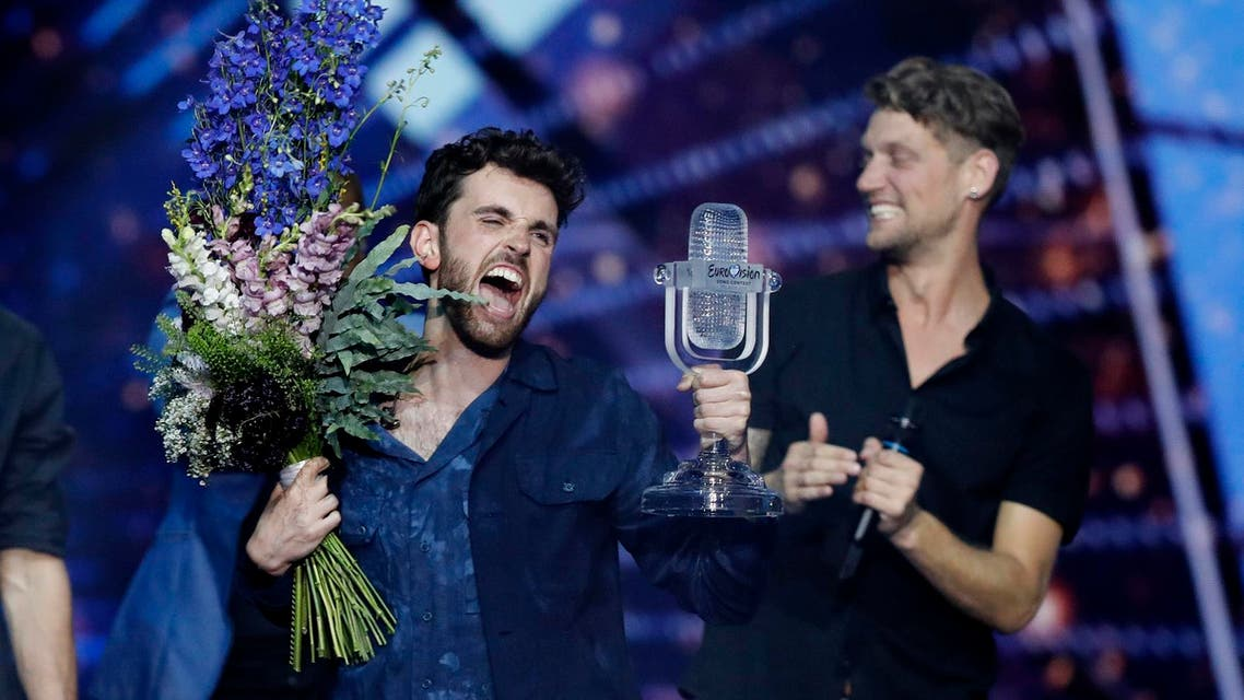 Duncan Laurence of the Netherlands celebrates after winning the 2019 Eurovision Song Contest grand final. (AP)