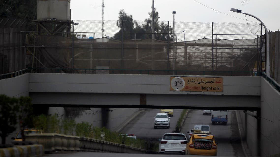 A picture taken on November 24, 2018, shows one of the entrances to Baghdad's fortified Green Zone. The partial reopening of Baghdad's high-security Green Zone to through traffic that was planned for Sunday has been postponed for several days, a government official told AFP.