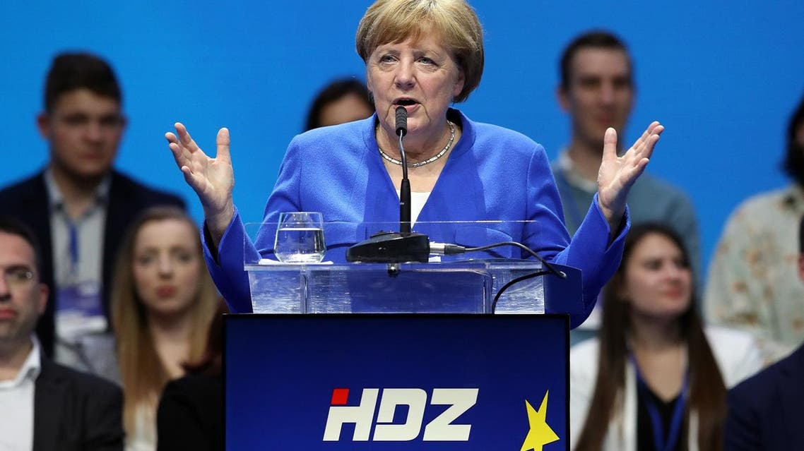 German Chancellor Angela Merkel delivers a speech during the European People's Party (EPP) and the Croatian Democratic Union (HDZ) campaign rally for the European Parliament elections in Zagreb, on May 18, 2019. (AFP)