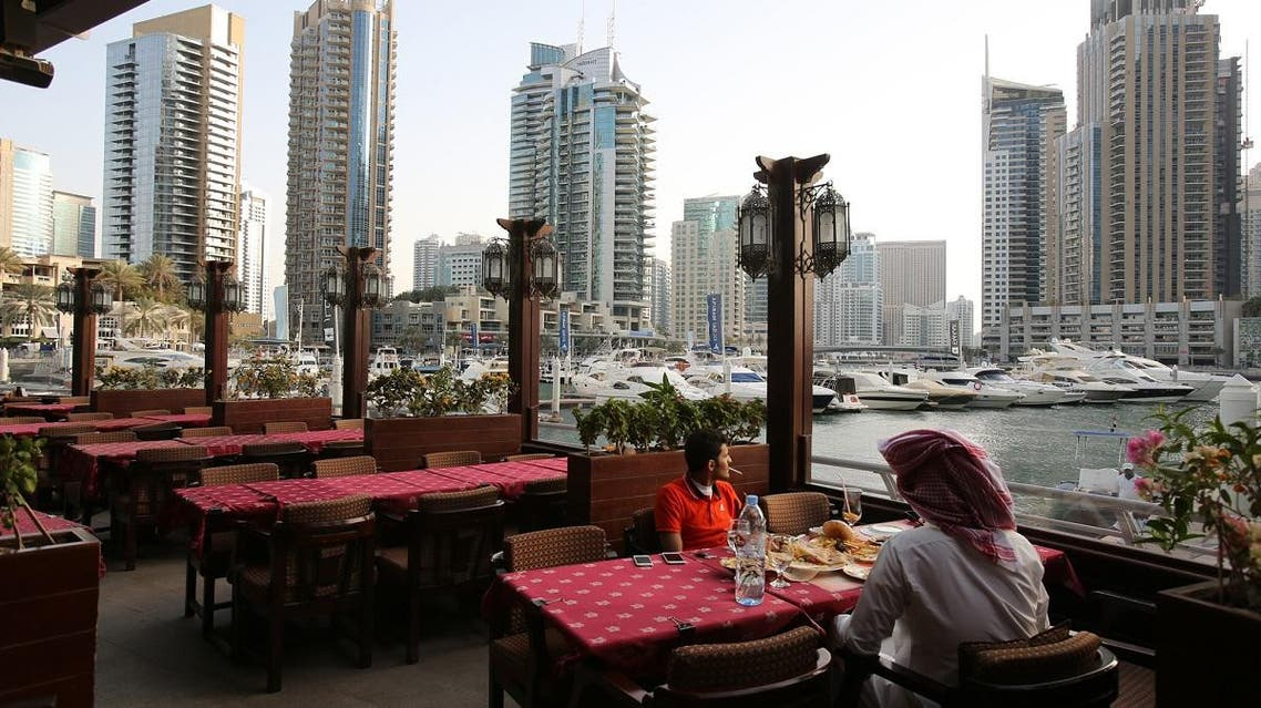 In this April 1, 2015 photo, people dine at the Reem al-Bawadi restaurant at the Marina Waterfront in Dubai, United Arab Emirates. (AP)