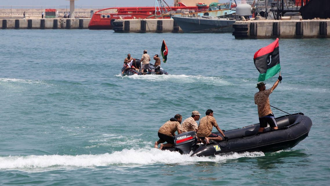 Soldiers of the Libyan National Army are shown during the graduation ceremony of new batch of the Libyan Navy special forces in the port of Tripoli. (File photo: AFP)