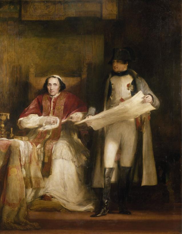 لوحة زيتية تجمع بين البابا وبونابرت