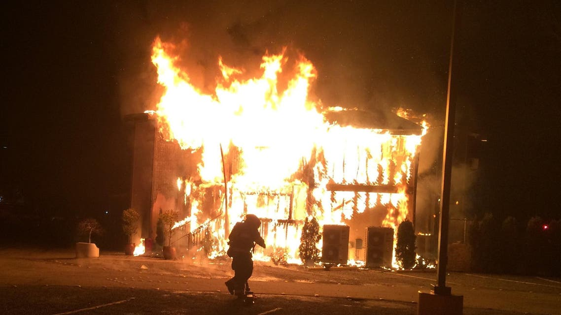 A fire burns at the Islamic Center of the Eastside in Bellevue, Washington, on Jan. 14, 2017. (File photo: AP)