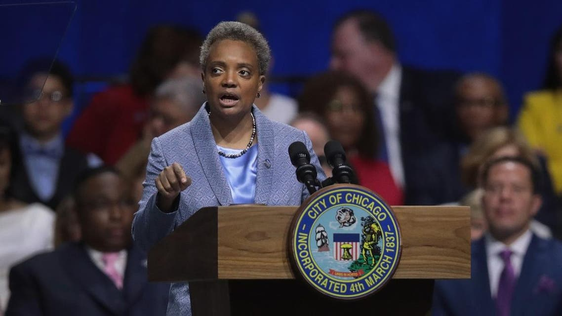 Lori Lightfoot addresses guests after being sworn in as Mayor of Chicago during a ceremony at the Wintrust Arena on May 20, 2019 in Chicago, Illinois. (AFP)