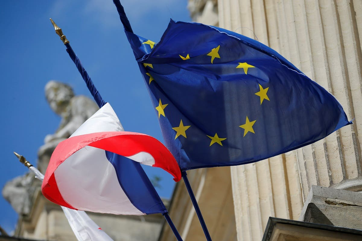 French and European flags fly on the facade of city hall in Amiens, France, May 16, 2019. Picture taken May 16, 2019. (Reuters)