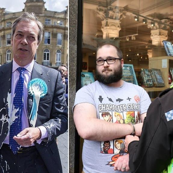 رش الحليب على زعيم إخراج بريطانيا من الاتحاد الأوروبي