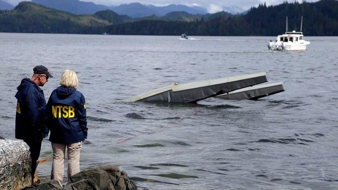 the site of some of the wreckage of the DHC-2 Beaver, Wednesday, May 15, 2019, that was involved in a midair collision near Ketchikan, Alaska, a couple of days earlier. (AP)