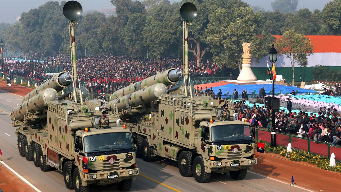 The BrahMos missile launchers during a dress rehearsal for the annual Republic Day parade in New Delhi on Jan. 23, 2013. (AP)
