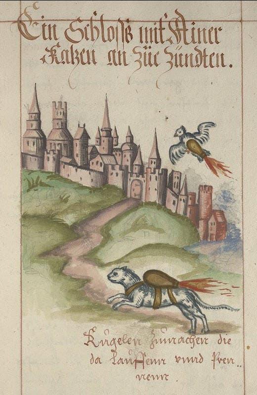 رسم تخيلي قدمه فرانز هيلم لإستخدام الحيوانات خلال عمليات الحصار
