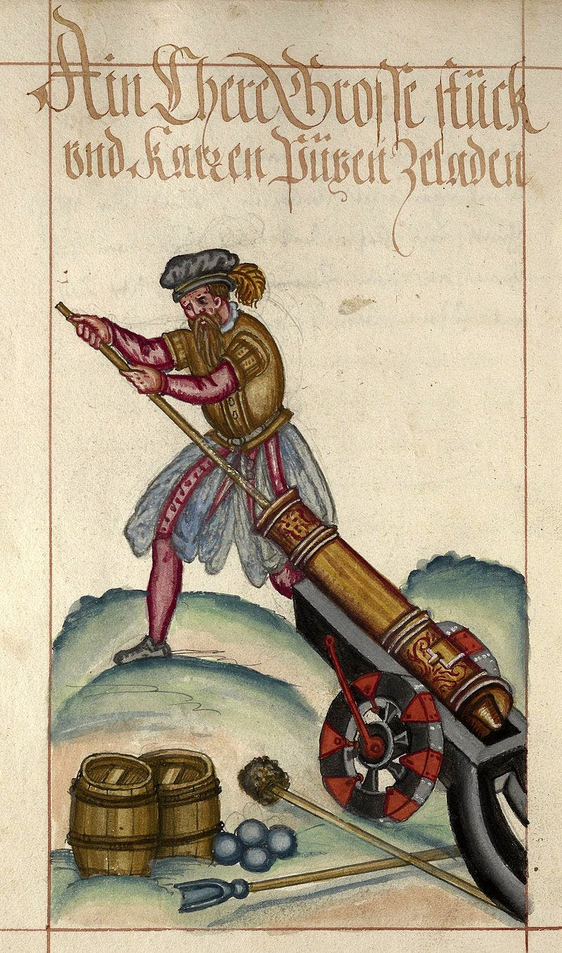 صورة لرجل وهو يقوم بشحن مدفع خلال القرن 16