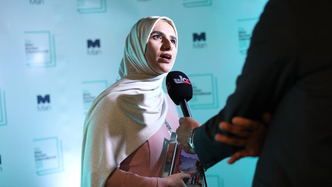 Arabic author Jokha Alharthi speaks to the media after winning the Man Booker International Prize for the book 'Celestial Bodies' in London. (AFP)