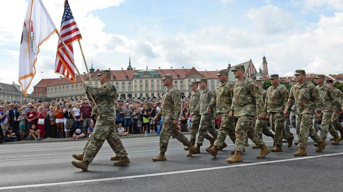 a group of US Army soldiers take part in an annual military parade celebrating Polish Army Day in Warsaw, Poland. (AP)