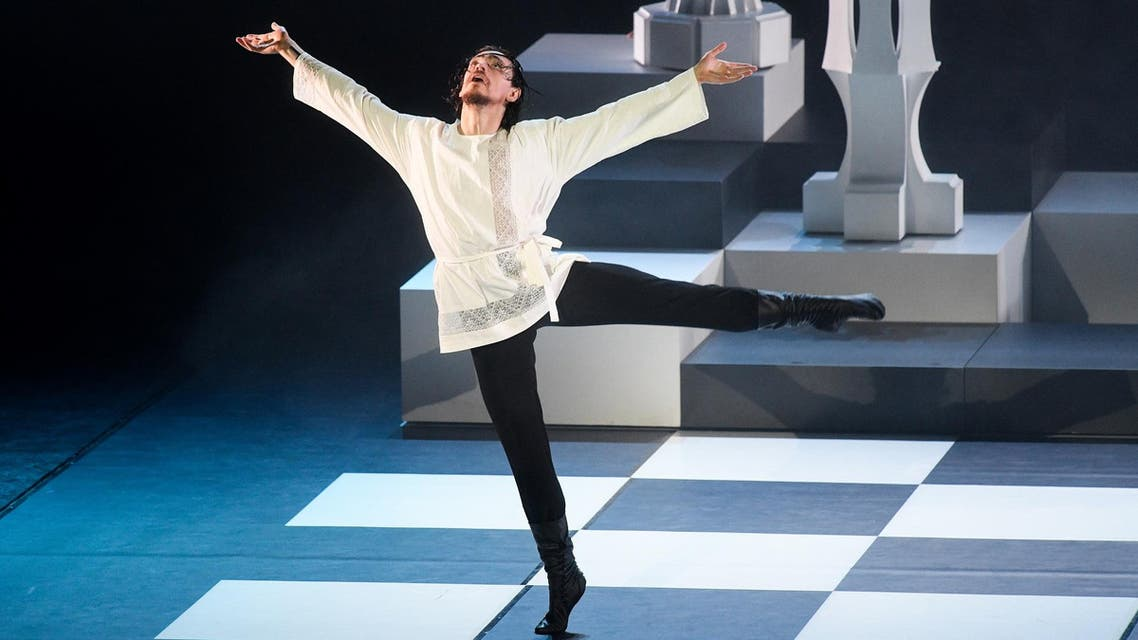 """Sergei Polunin dances in the """"Rasputin"""" ballet in Barvikha concert hall outside Moscow on May 23, 2019. (AFP)"""