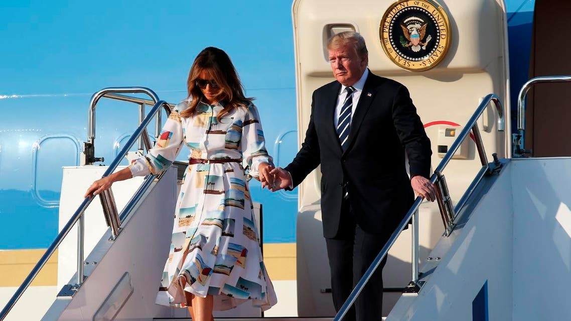 US President Donald Trump and First Lady Melania Trump disembark from Air Force One upon arrival at Haneda international airport in Tokyo on May 25, 2019. Koji Sasahara / POOL / AFP