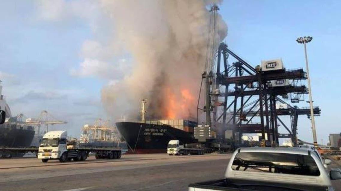 Thailand port fire - Twitter
