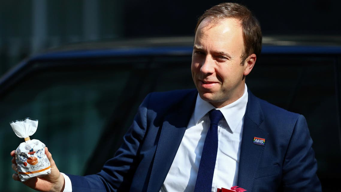 FILE PHOTO: Britain's Secretary of State for Health Matt Hancock is seen outside Downing Street, as uncertainty over Brexit continues, in London, Britain April 8, 2019. REUTERS/Henry Nicholls/File Photo