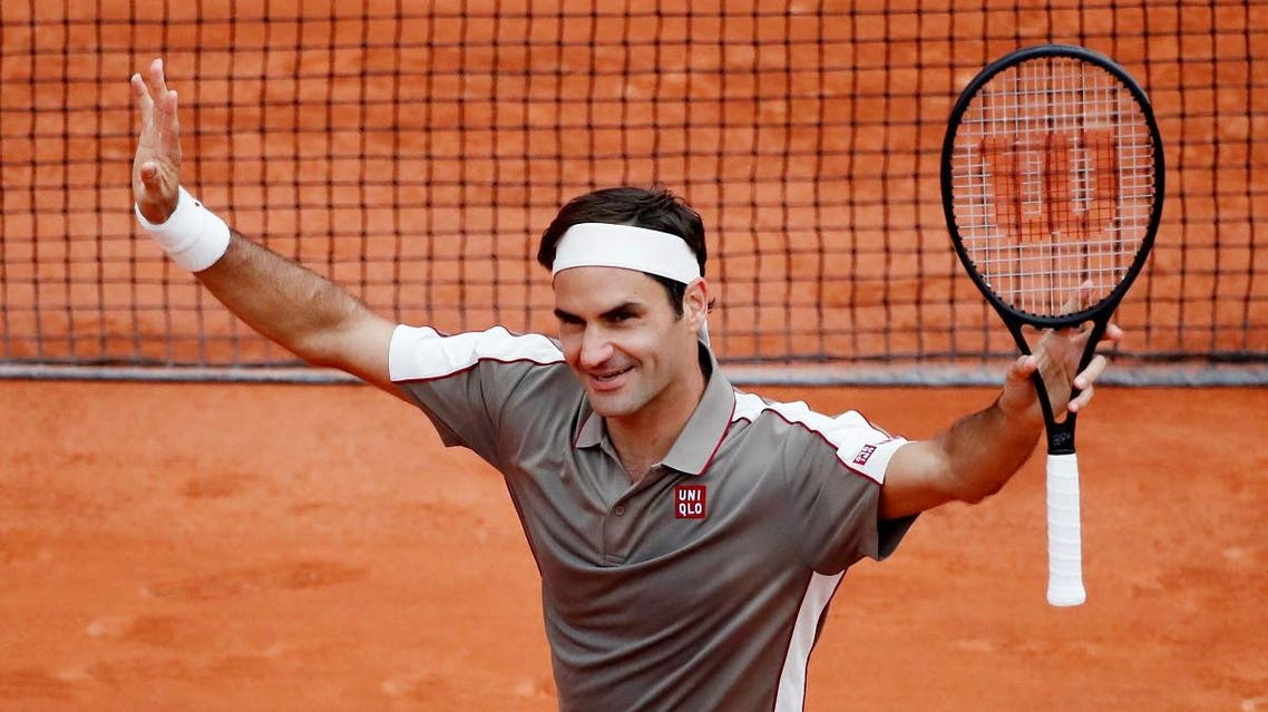 Roger Federer celebrates winning his first round match against Lorenzo Sonego at Roland Garros, Paris, France, on May 26, 2019. (Reuters)