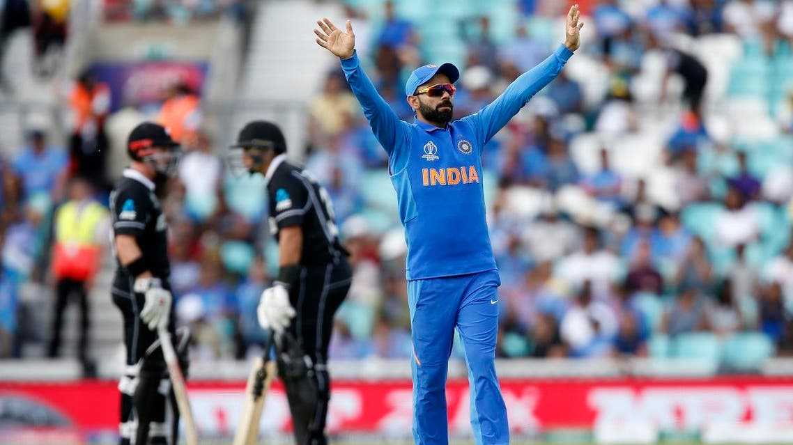 India's Captain Virat Kohli gestures whilst fielding during the 2019 Cricket World Cup warm up match between India and New Zealand at The Oval in London on May 25, 2019.  (AFP)