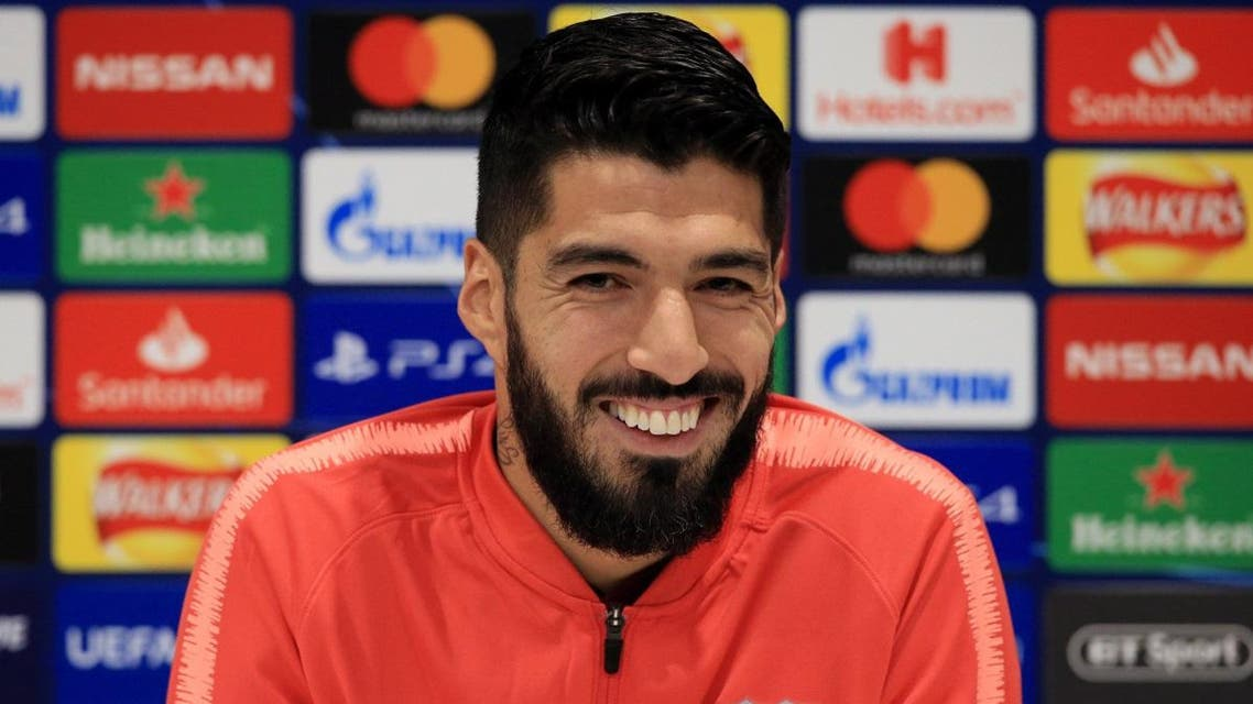 Luis Suarez attends a press conference at Anfield stadium in Liverpool, north west England on on May 6, 2019. (AFP)