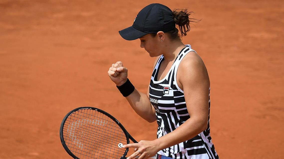 Ashleigh Barty celebrates after winning against Jessica Pegula of the US at the French Open tournament in Paris on May 27, 2019. (AFP)
