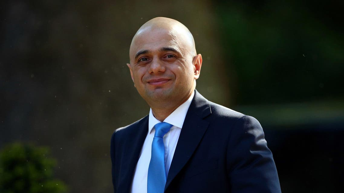 Sajid Javid outside the Downing Street in London on May 21, 2019. (Reuters)