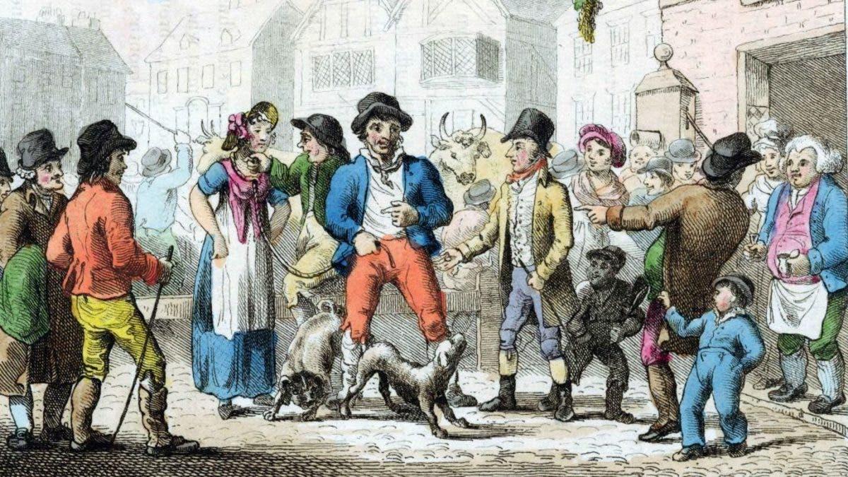 رسم تخيلي لرجل إنجليزي اصطحب زوجته لبيعها بسوق الدواب