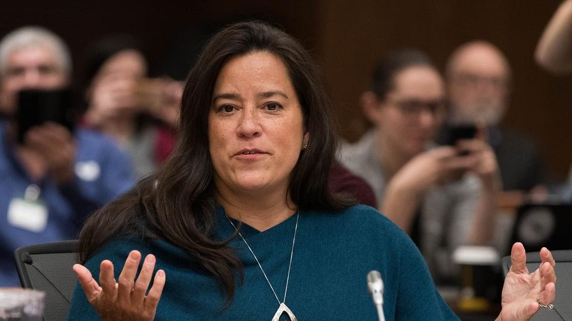 Former Canadian Justice Minister Jody Wilson-Raybould testifies about the SNC-LAVALIN affair before a justice committee hearing on Parliament Hill in Ottawa. (AFP)