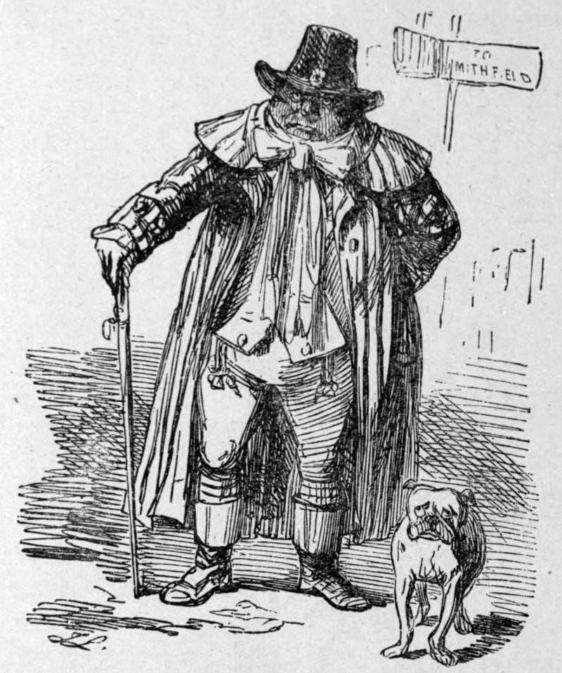 كاريكاتير فرنسي ساخر يجسد رجلا إنجليزيا وهو في طريقه لسوق سميثفيلد لعرض زوجته للبيع