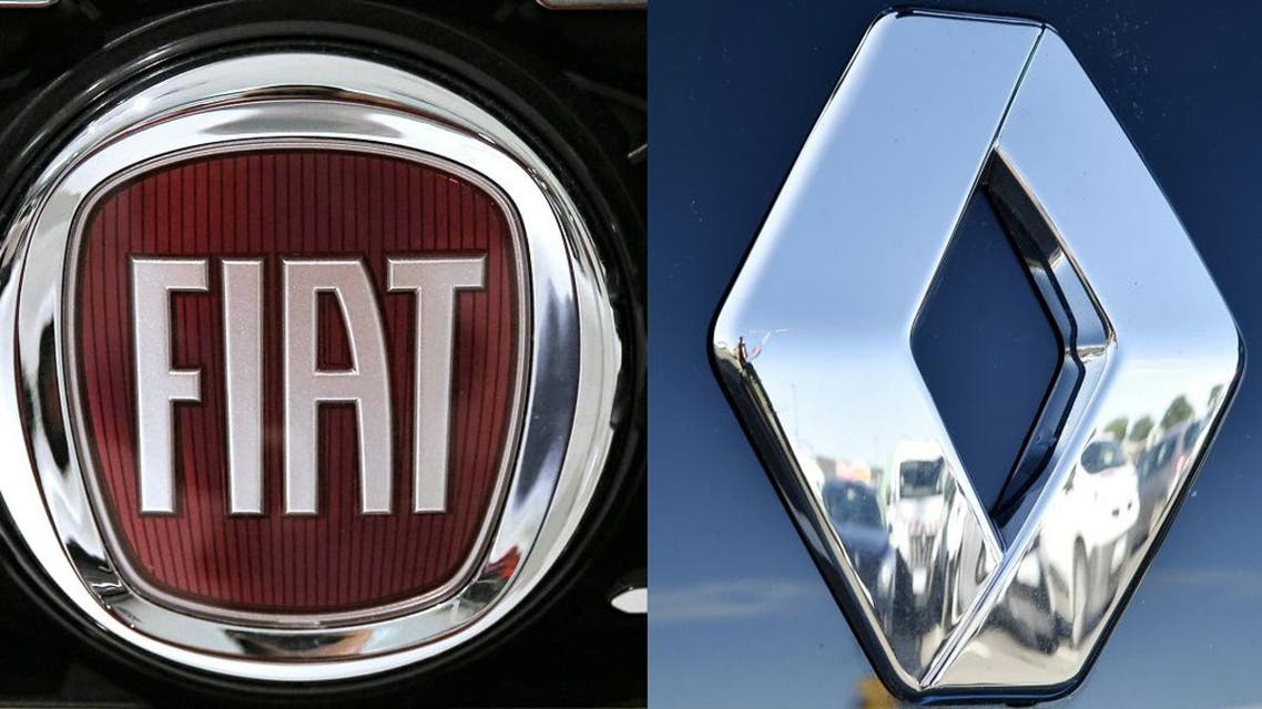 This combination of pictures created on May 26, 2019 shows the logo of Italian auto maker Fiat (L) (FCA) on January 12, 2017 in Saluzzo, near Turin. And the logo of carmaker Renault in Saint-Herblain, western France, on January 15, 2016. (AFP)