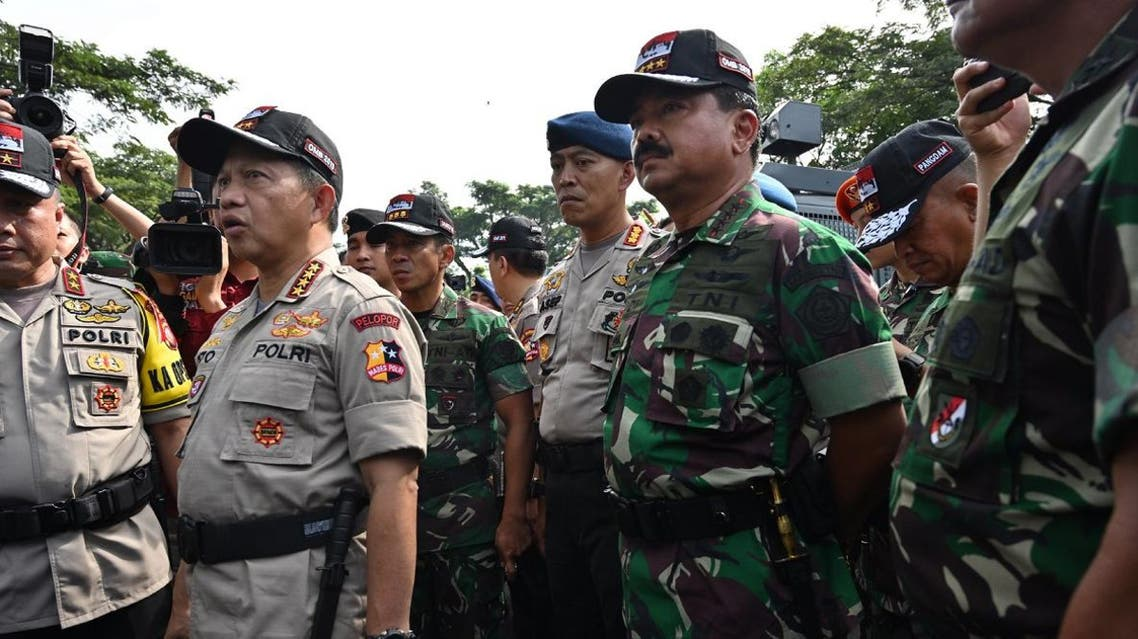 Indonesian police chief Tito Karnavian (2nd L) and Military Chief Hadi Tjahjanto (2nd R) in Bogor, West Java on April 10, 2019. (File photo: AFP)