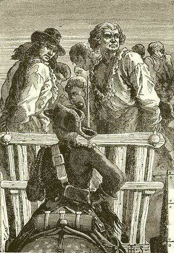 لوحة تجسد دانتون ورفاقه وهم يساقون نحو المقصلة