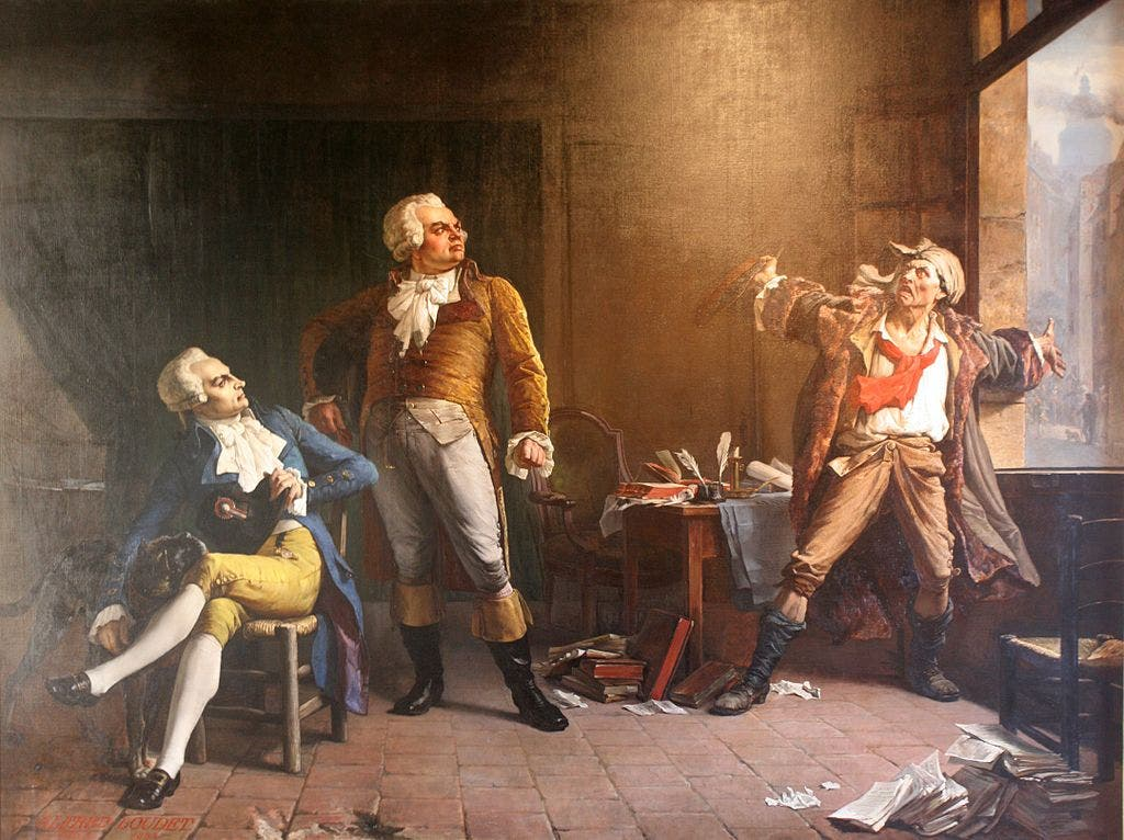 لوحة زيتية تجمع بين روببسبيار ودانتون ومارا