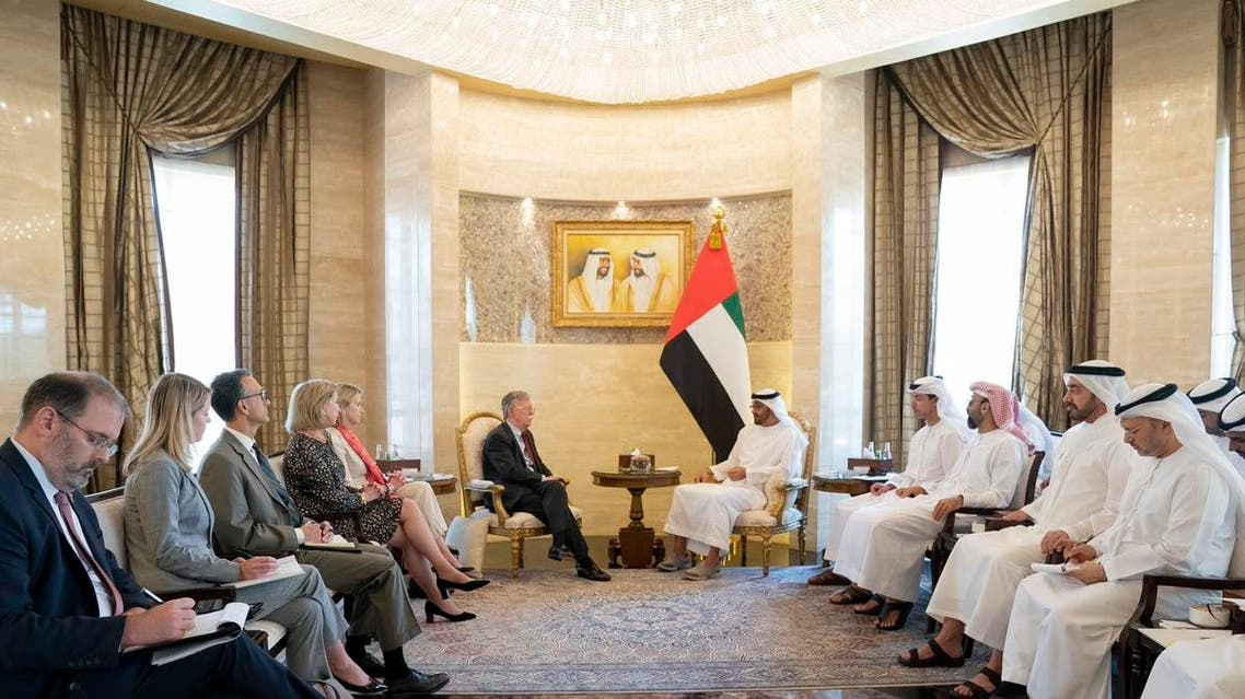 Abu Dhabi Crown Prince Sheikh Mohammed bin Zayed al-Nahyan meets with US National Security Adviser John Bolton. (WAM Twitter)