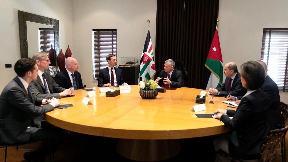 Jordan's King Abdullah meets with Senior White House Advisor Jared Kushner in Amman, Jordan, May 29, 2019. (Reuters)